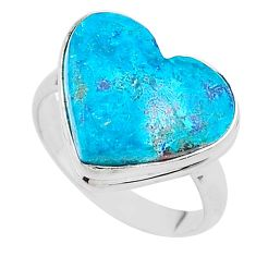 925 silver 15.39cts solitaire natural blue chrysocolla heart ring size 10 t17903