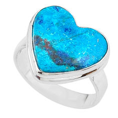 925 silver 14.40cts solitaire natural blue chrysocolla heart ring size 10 t17918