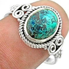 925 silver 3.92cts solitaire natural blue chrysocolla oval ring size 8.5 t57496