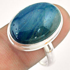 925 silver 13.20cts solitaire natural blue copper slag oval ring size 10 t54510