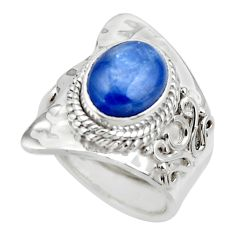 925 silver 4.40cts solitaire natural blue kyanite adjustable ring size 6 r49594