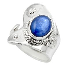 925 silver 4.40cts solitaire natural blue kyanite adjustable ring size 7 r49599