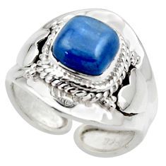 925 silver 3.13cts solitaire natural blue kyanite adjustable ring size 8 r49589