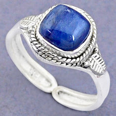 925 silver 3.29cts solitaire natural blue kyanite adjustable ring size 8.5 t8735