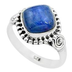 925 silver 3.13cts solitaire natural blue kyanite cushion ring size 5 t6095
