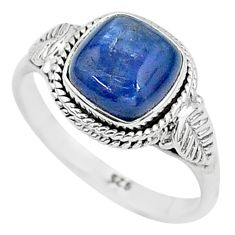 925 silver 3.08cts solitaire natural blue kyanite cushion ring size 7 t6065