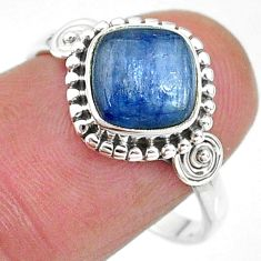 925 silver 3.32cts solitaire natural blue kyanite cushion ring size 9 t11323