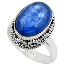 925 silver 6.80cts solitaire natural blue kyanite oval shape ring size 7 r51192