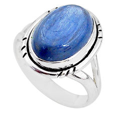 925 silver 6.04cts solitaire natural blue kyanite oval shape ring size 7 t2447