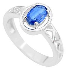 925 silver 1.44cts solitaire natural blue kyanite oval shape ring size 7 t8869