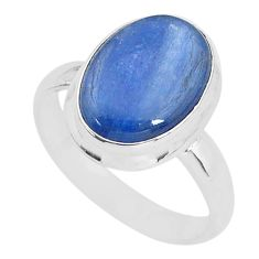 925 silver 7.29cts solitaire natural blue kyanite oval shape ring size 8.5 t2403