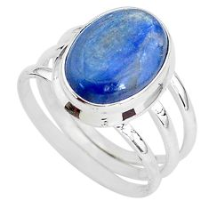 925 silver 6.58cts solitaire natural blue kyanite oval shape ring size 7.5 t2454