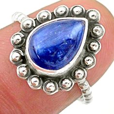 925 silver 2.57cts solitaire natural blue kyanite pear ring size 7.5 t25351