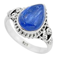 925 silver 2.43cts solitaire natural blue kyanite pear shape ring size 5 t6069