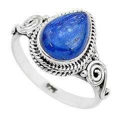 925 silver 2.68cts solitaire natural blue kyanite pear shape ring size 7 t6074