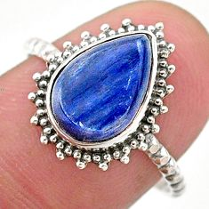 925 silver 4.29cts solitaire natural blue kyanite pear shape ring size 8 t25307