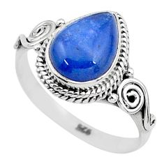 925 silver 2.61cts solitaire natural blue kyanite pear shape ring size 8 t6091