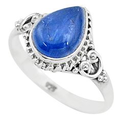 925 silver 2.53cts solitaire natural blue kyanite pear shape ring size 9 t6085