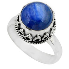 925 silver 5.21cts solitaire natural blue kyanite round ring size 8 r51195