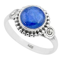 925 silver 3.17cts solitaire natural blue kyanite round shape ring size 7 t6098