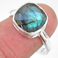 925 silver 5.43cts solitaire natural blue labradorite cushion ring size 8 t11326