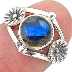 925 silver 2.92cts solitaire natural blue labradorite flower ring size 7 t25133