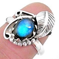 925 silver 3.18cts solitaire natural blue labradorite leaf ring size 7 t6390