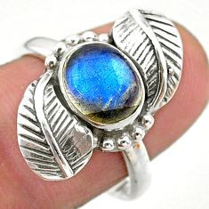 925 silver 3.28cts solitaire natural blue labradorite leaf ring size 7.5 t25238