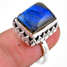 925 silver 5.12cts solitaire natural blue labradorite octagan ring size 6 r51544