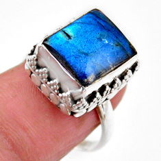 925 silver 5.30cts solitaire natural blue labradorite octagan ring size 7 r51530