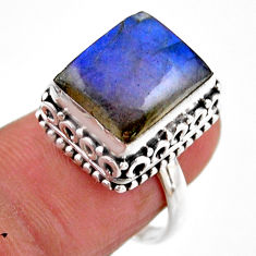 925 silver 4.82cts solitaire natural blue labradorite octagan ring size 7 r51556