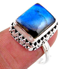 925 silver 5.01cts solitaire natural blue labradorite octagan ring size 8 r51537