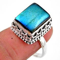 925 silver 5.35cts solitaire natural blue labradorite octagan ring size 8 r51547