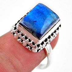 925 silver 5.01cts solitaire natural blue labradorite octagan ring size 8 r51559