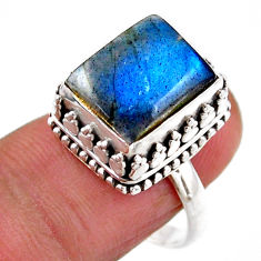 925 silver 5.35cts solitaire natural blue labradorite octagan ring size 8 r51560