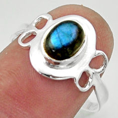 925 silver 2.42cts solitaire natural blue labradorite oval ring size 8.5 r40516