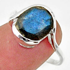 925 silver 5.11cts solitaire natural blue labradorite oval ring size 7.5 r40820