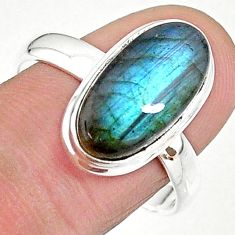925 silver 5.76cts solitaire natural blue labradorite oval ring size 10 t18008
