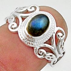 925 silver 1.47cts solitaire natural blue labradorite oval ring size 7 r40756