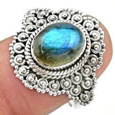 925 silver 4.14cts solitaire natural blue labradorite oval ring size 7 t20140