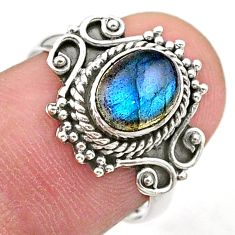 925 silver 2.21cts solitaire natural blue labradorite oval ring size 7 t27619