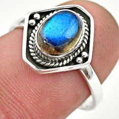 925 silver 2.27cts solitaire natural blue labradorite oval ring size 7 t28416