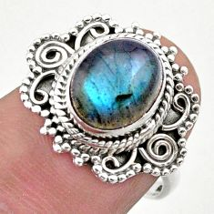 925 silver 4.70cts solitaire natural blue labradorite oval ring size 7 t46178