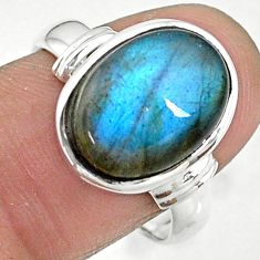 925 silver 6.62cts solitaire natural blue labradorite oval ring size 8 t10499