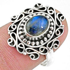 925 silver 2.11cts solitaire natural blue labradorite oval ring size 8 t15814