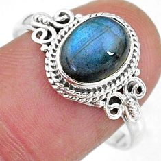 925 silver 3.10cts solitaire natural blue labradorite oval ring size 9 t11273