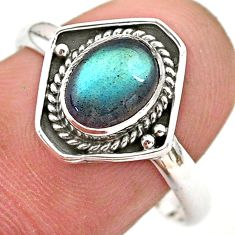 925 silver 2.42cts solitaire natural blue labradorite oval ring size 9 t28419