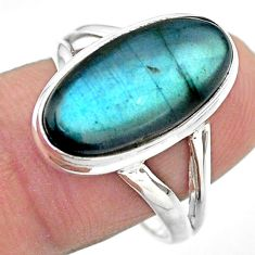 925 silver 7.83cts solitaire natural blue labradorite oval ring size 9 t29235