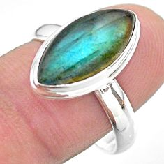 925 silver 8.05cts solitaire natural blue labradorite oval ring size 9 t29237