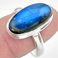 925 silver 8.45cts solitaire natural blue labradorite oval ring size 9 t29240